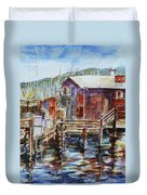 At Monterey Wharf Ca Duvet Cover