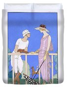 At Polo Duvet Cover by Georges Barbier