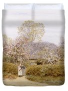 At School Green Isle Of Wight Duvet Cover