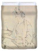 At The Cafe Duvet Cover by Henri de Toulouse-Lautrec