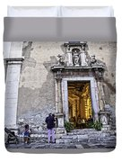 At The Church - Child's Curiosity - Sicily Duvet Cover