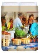 At The Farmer's Market Duvet Cover