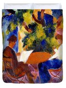 At The Garden Table Duvet Cover by August Macke