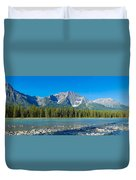 Athabasca River With Mountains Duvet Cover