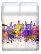 Athens - Oh Skyline In Watercolor Background Duvet Cover