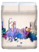 Atlanta Painted City Skyline Duvet Cover