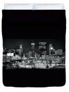 Atlanta Panoramic Black And White Duvet Cover