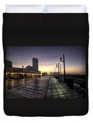 Atlantic City Boardwalk In The Morning Duvet Cover