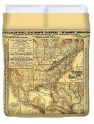 Atlantic Coast Line Railway Map 1885 Duvet Cover
