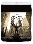 Atlas At Rockefeller Center Back Side Duvet Cover