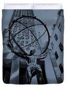 Atlas Rockefeller Center Poster Duvet Cover