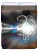 Atom Collision Duvet Cover by Mike Agliolo