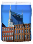 At&t Building And Historic Red Brick Duvet Cover