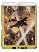 Attack Begins In Factory Propaganda Poster From World War II Duvet Cover