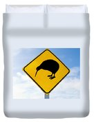 Attention Kiwi Crossing Road Sign Duvet Cover