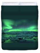 Aurora Borealis Above Jokulsarlon Duvet Cover