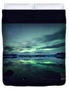 Aurora Borealis Over Lake Duvet Cover