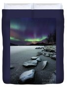 Aurora Borealis Over Sandvannet Lake Duvet Cover