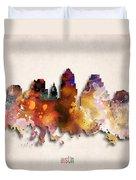 Austin Painted City Skyline Duvet Cover