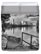 Austin Texas Skyline Lou Neff Point In Black And White Duvet Cover