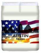 Austin Tx Patriotic Large Cityscape Duvet Cover