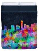 Austin Watercolor Panorama Duvet Cover