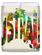 Australia Typographic Watercolor Map Duvet Cover
