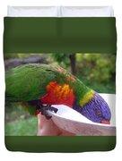Australia - One Wet Lorikeet Feeding Duvet Cover