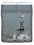 Australian Shepherd Fun At The Lake Chasing The Ball Duvet Cover
