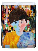 Autism - Child And Mother Duvet Cover by Carmencita Balagtas