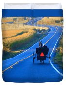 Autumn Amish Buggy Ride Duvet Cover