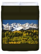 Autumn And Snow Covered Peaks North Duvet Cover