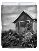 Autumn Barn - Upclose Cropped - Black And White Duvet Cover