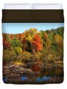 Autumn Beaver Pond Reflections Duvet Cover