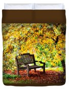 Autumn Bench In The Garden  Duvet Cover