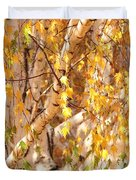 Autumn Birch Leaves Duvet Cover