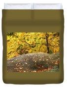Autumn Boulder And Leaves Duvet Cover