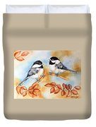 Autumn Chickadees Duvet Cover
