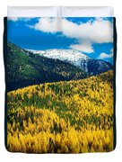 Autumn Color Larch Trees In Pine Tree Duvet Cover