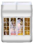 Autumn Cottonwood Tree Longs Peak White Window View Duvet Cover