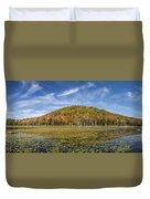 Serene Pond Vermont Autumn Panorama Duvet Cover