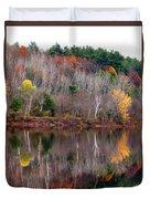 Autumn Foliage River Reflection Duvet Cover