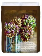 Autumn Hydrangeas Photoart With Verse Duvet Cover