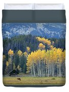 1m9359-autumn In Jackson Hole Ranch Country Duvet Cover