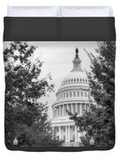 Autumn In The Us Capitol Bw Duvet Cover