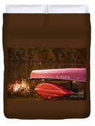 Autumn Kayaks On Newport Lake Duvet Cover