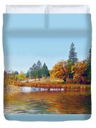 Autumn Lake In The Woods Duvet Cover