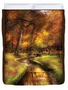Autumn - Landscape - By A Little Bridge  Duvet Cover by Mike Savad