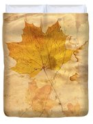 Autumn Leaf In Grunge Style Duvet Cover
