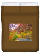 Autumn On Zion Canyon Scenic Drive In Zion National Park-utah  Duvet Cover